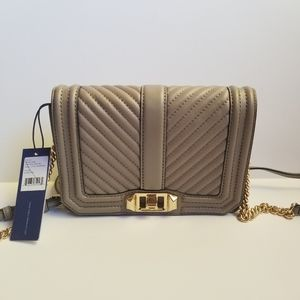 Rebecca Minkoff Quilted Love Crossbody Small Gray